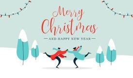 Катание на коньках пар рождественской открытки молодое outdoors иллюстрация штока