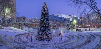 Катание на коньках семей на олимпийском парке Стоковое Фото