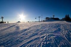 катание на лыжах вечера Стоковая Фотография