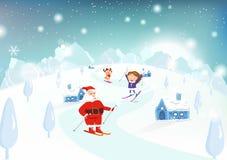 Катание на лыжах рождества, Санта Клауса, ребенк и северного оленя на горах внутри бесплатная иллюстрация