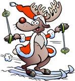 Катание на лыжах северного оленя Стоковая Фотография