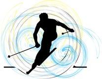 катание на лыжах иллюстрация вектора