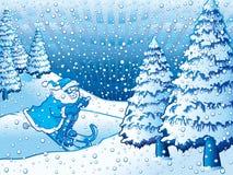 катание на лыжах santa Стоковое Изображение