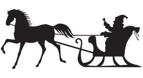 Катание Санта Клауса на санях лошади бесплатная иллюстрация