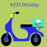Катание шаржа велосипеда мопеда ресторана пиццы меню еды Стоковая Фотография
