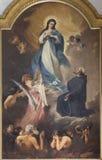"""КАТАНИЯ, ИТАЛИЯ, 2018: Картина Virigin Mary и душ в чистилище в церков Chiesa di Сан Francesco d """"Assisi стоковые фото"""