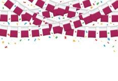 Катар сигнализирует предпосылку гирлянды белую с confetti, овсянкой вида на национальный праздник Qatari иллюстрация вектора