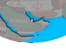 Катар с флагом на глобусе бесплатная иллюстрация