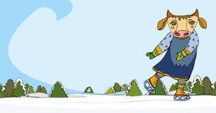 кататься на коньках коровы Стоковое Фото