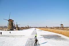 Кататься на коньках льда в Нидерландах Стоковая Фотография RF