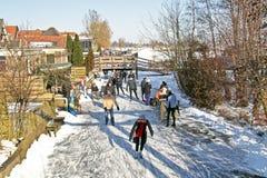 Кататься на коньках льда в сельской местности от Нидерландов Стоковое Изображение