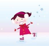 кататься на коньках льда девушки иллюстрация вектора