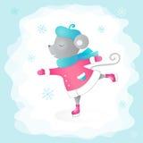 Кататься на коньках мыши kiting зима спортов лыжи реки снежная Vector иллюстрация для дизайна карточек, приглашений, дизайна крыш Стоковая Фотография RF