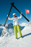 Кататься на лыжах в швейцарском альп Стоковые Фотографии RF