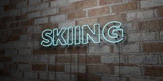 КАТАТЬСЯ НА ЛЫЖАХ - Накаляя неоновая вывеска на стене каменной кладки - 3D представило иллюстрацию неизрасходованного запаса коро Стоковые Изображения RF