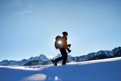 Кататься на лыжах на свежем снеге порошка стоковые изображения