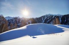 Кататься на лыжах на свежем снеге порошка стоковая фотография rf