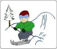 Кататься на лыжах иллюстрация вектора