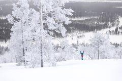 Кататься на лыжах над Полярным кругом Стоковое фото RF