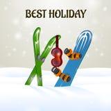 Кататься на лыжах с изумлёнными взглядами и сноубордом лыжи Стоковое Изображение RF