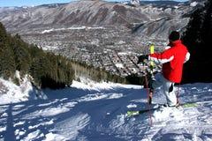 Катающся на лыжах в Aspen, Колорадо Стоковые Изображения RF