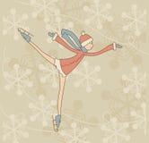 Катаясь на коньках девочка-подросток Стоковое Фото