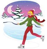 катаясь на коньках женщина Стоковое Фото