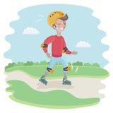 Катаясь на коньках мальчик двигая быстро Стоковое Изображение RF