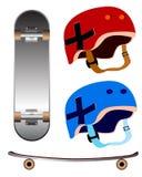 Катаясь на коньках шлемы доски & безопасности Стоковое фото RF