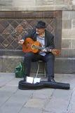 Каталонский музыкант в Барселоне Стоковое фото RF