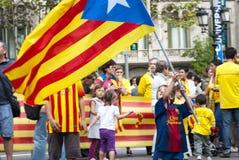Каталонский путь, требуя независимости Каталонии Стоковая Фотография
