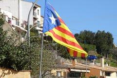 Каталонский флаг независимости подробно Стоковая Фотография