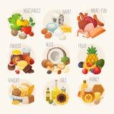 Категории натуральных продуктов иллюстрация вектора