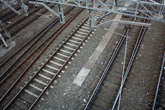 катенарные следы железной дороги Стоковая Фотография