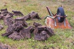 Катите бочонок на торф жать место около Inverasdale, NW Scotla Стоковые Изображения RF
