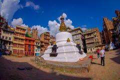 КАТМАНДУ, НЕПАЛ 15-ОЕ ОКТЯБРЯ 2017: Взгляд вечера stupa Bodhnath - Катманду - Непала, влияния глаза рыб Стоковое фото RF