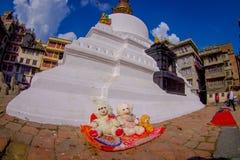 КАТМАНДУ, НЕПАЛ 15-ОЕ ОКТЯБРЯ 2017: Взгляд вечера stupa Bodhnath - Катманду - Непала, влияния глаза рыб Стоковое Изображение RF
