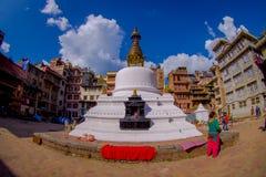 КАТМАНДУ, НЕПАЛ 15-ОЕ ОКТЯБРЯ 2017: Взгляд вечера stupa Bodhnath - Катманду - Непала, влияния глаза рыб Стоковая Фотография RF
