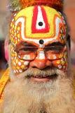 КАТМАНДУ, НЕПАЛ - 15-ОЕ ЯНВАРЯ 2015: Портрет святого человека Sadhu в квадрате Durbar Стоковая Фотография RF