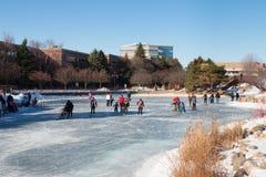 Каток на замороженном озере Стоковая Фотография RF