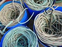 Катушки веревочки в пластичных ушатах Стоковая Фотография RF