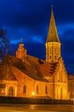 Каунас, Литва: Церковь Vytautas большая на ноче Стоковое фото RF