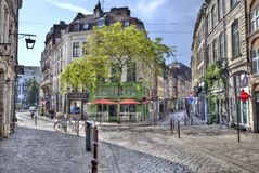 Кафа в старой части Лилля, Франции Стоковая Фотография RF