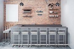 Кафе-бар с пустым плакатом бесплатная иллюстрация