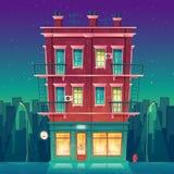 Кафе вектора круглосуточное в жилой квартире мульти-этажа бесплатная иллюстрация