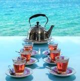 Кафе вида на море чаепития в Азии Стоковое фото RF