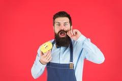 Кафе и концепция пекарни Сладкий донут от хлебопека Хлебопек человека бородатый в варить десерт владением рисбермы милый Забудьте стоковые изображения rf