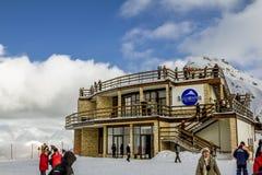 Кафе на верхней части горы в Сочи Krasnaya Polyana Стоковое Фото