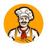 Кафе, логотип вектора ресторана обедающий, кашевар, значок шеф-повара иллюстрация вектора