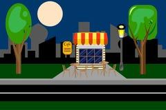 Кафе, ресторан, быстро Вечер в парке также вектор иллюстрации притяжки corel Стоковые Изображения